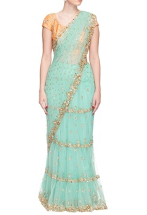 turquoise-mirror-and-pearl-embellished-sari
