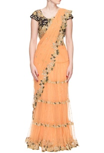peach-sequin-embellished-frill-sari