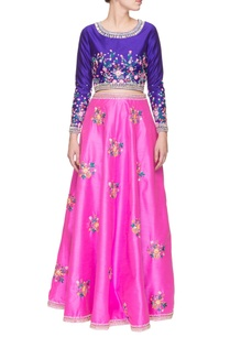 purple-bubblegum-pink-floral-embroidered-crop-top-with-skirt