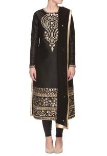 black-gold-motif-embellished-kurta-set