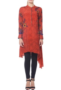 red-floral-printed-tunic