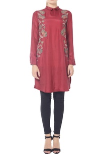 burgundy-floral-collared-tunic