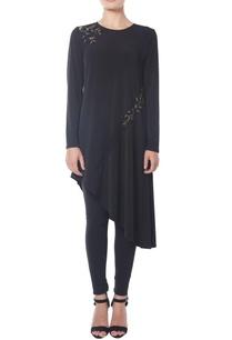 black-asymmetrical-floral-tunic