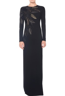 black-leaf-embellished-gown