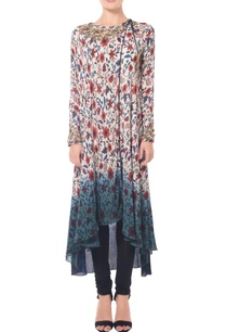 white-beige-blue-shaded-floral-printed-long-tunic-set