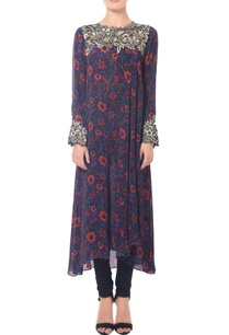 deep-blue-floral-printed-embroidered-tunic-set