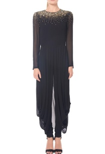 black-stardust-embroidered-cowl-tunic-set
