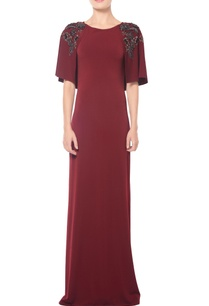 burgundyyfloral-embellished-cape-gown