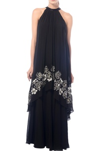 black-halter-neck-layered-gown