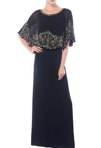black-embroidered-cape-dress