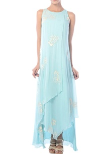 aqua-blue-embroidered-asymmetric-gown