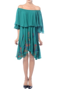 sea-green-off-shoulder-embroidered-dress