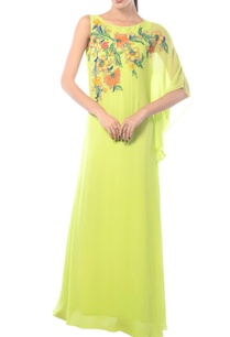 lime-one-sleeved-embroidered-dress