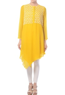 mango-yellow-asymmetric-embroidered-tunic