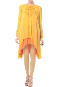 mustard-tangerine-embroidered-high-low-tunic