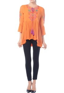 tangerine-asymmetric-embroidered-top