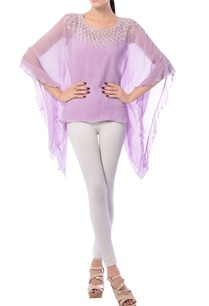 lavender-kaftan-top-with-embroidered-neckline