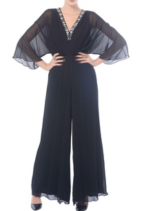 black-embroidered-wing-sleeved-jumpsuit