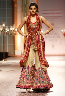 beige-red-resham-work-kurta-with-sharara