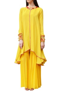 yellow-embroidered-kurta-with-sharara-pants
