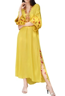 yellow-embroidered-side-slit-kaftan-dress
