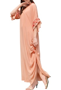 salmon-pink-thread-embroidered-maxi-dress