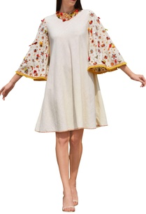 cream-thread-embroidered-bell-sleeve-dress