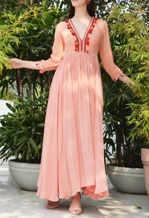 salmon-pink-thread-embroidered-printed-dress