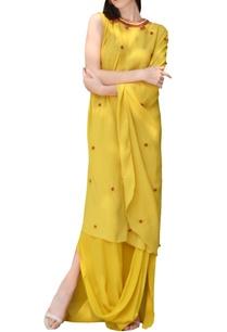 yellow-one-sleeve-kurta-with-cowl-skirt