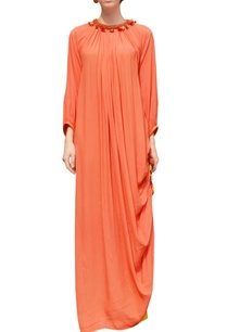 orange-rouched-dress-with-skirt
