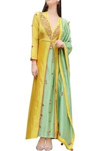 yellow-green-thread-embroidered-kurta-set