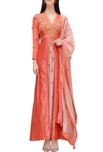 orange-pink-thread-embroidered-kurta-set