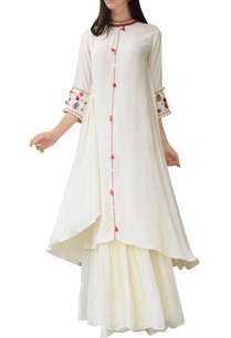 cream-thread-embroidered-kurta-with-skirt