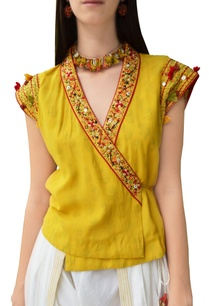 yellow-overlap-jacket-with-thread-embroidery