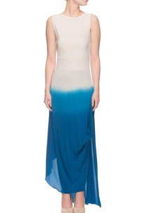 white-blue-shaded-side-slit-dress