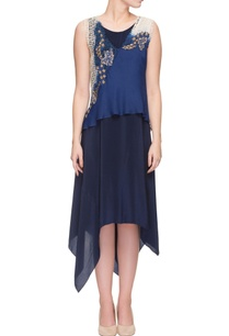 blue-asymmetric-hem-dress