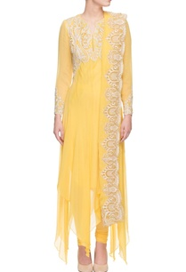 yellow-white-thread-embroidered-kurta-set