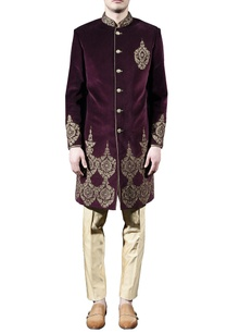 burgundy-gold-embellished-sherwani