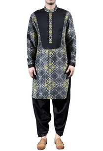 charcoal-grey-printed-kurta-set
