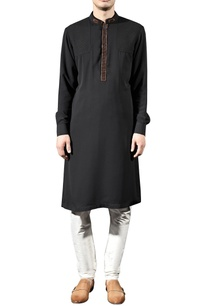 black-cotton-silk-kurta-set