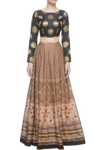 black-tussar-silk-printed-skirt-blouse