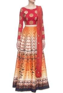 orange-turkish-printed-skirt-set