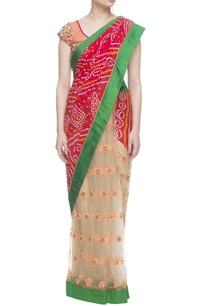 red-bandhej-saree-with-leaf-embroidered-blouse