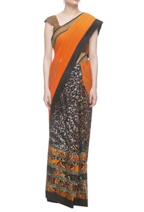 orange-and-animal-print-combination-saree-with-gota-blouse