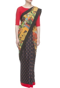hussain-printed-muslin-saree-with-red-blouse