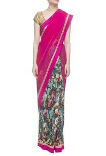blue-tussar-sari-with-pink-pallu-gold-sequin-blouse