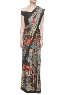 black-abstract-printed-sari-with-sequined-off-shoulder-blouse