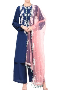 blue-and-pink-silver-flowers-kurta-set