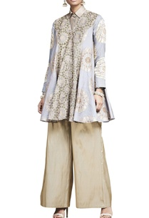 grey-embroidered-jacket-with-palazzo-pants