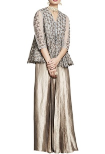 grey-embroidered-jacket-with-silk-skirt
